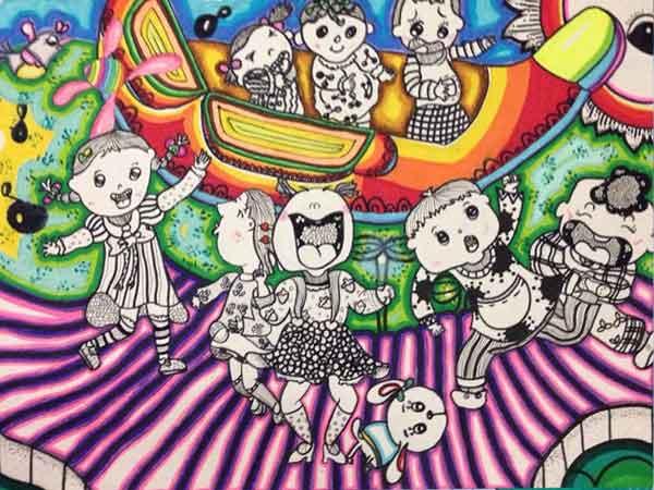 瑞安瑞祥实验学校小记者虞子娴绘画作品《六一:天使的聚会》-中国